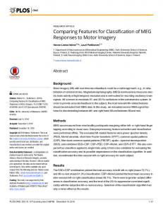 Comparing Features for Classification of MEG Responses to ... - PLOS