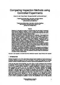 Comparing Inspection Methods using Controlled ... - Semantic Scholar