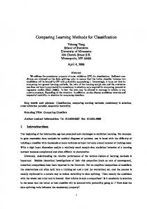 Comparing Learning Methods for Classification - Semantic Scholar