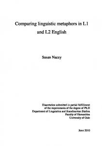Comparing linguistic metaphors in L1 and L2 English