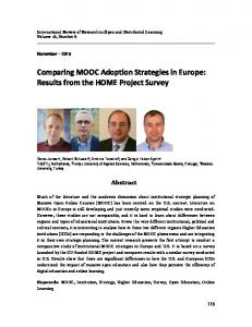 Comparing MOOC Adoption Strategies in Europe: Results from ... - ERIC