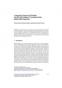 Comparing Numerical Methods for Solving