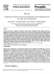 Comparing of Human Resources Management Sports ...