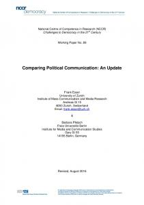 Comparing Political Communication: An Update - NCCR Democracy