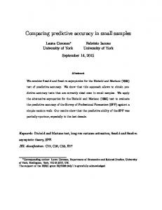 Comparing predictive accuracy in small samples - Editorial Express