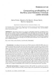 Comparing profitability of Burlina and Holstein Friesian cattle breeds