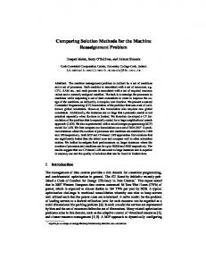 Comparing Solution Methods for the Machine ... - Semantic Scholar