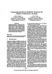 Comparing Statistical Similarity Measures for Stylistic Multivariate ...