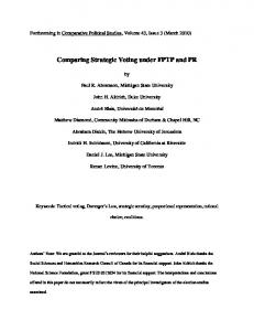 Comparing Strategic Voting under FPTP and PR