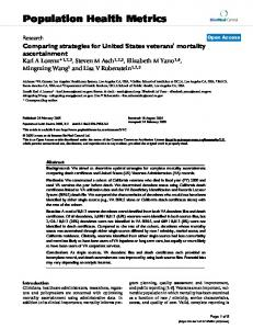 Comparing strategies for United States veterans' mortality ...