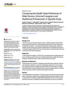 Comparing the Health State Preferences of Older Persons, Informal ...