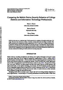 Comparing the Mobile Device Security Behavior of