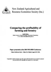 Comparing the profitability of farming and forestry - AgEcon Search