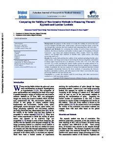 Comparing the Validity of Non-Invasive Methods in Measuring ...