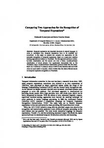 Comparing Two Approaches for the Recognition of ... - Semantic Scholar