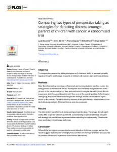 Comparing two types of perspective taking as strategies for ... - PLOS