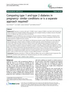 Comparing type 1 and type 2 diabetes in pregnancy-similar conditions