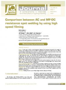 Comparison between AC and MF-DC resistance spot welding by ...
