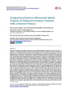 Comparison between Metastatic Spinal Tumour of Unknown Primary ...
