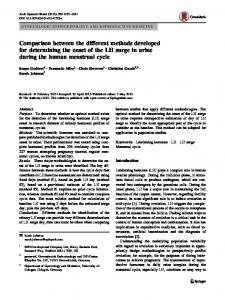 Comparison between the different methods developed for determining ...