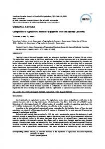 Comparison of Agricultural Producer Support in Iran and Selected Cou