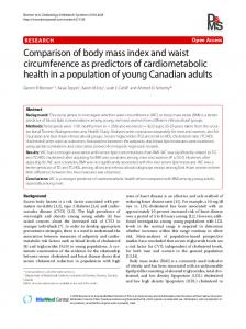 Comparison of body mass index and waist circumference as ...