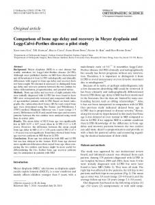 Comparison of bone age delay and recovery in Meyer dysplasia and