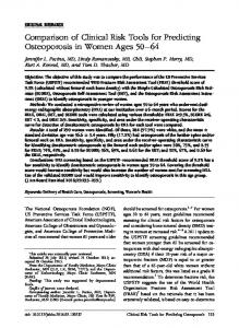 Comparison of Clinical Risk Tools for Predicting Osteoporosis in ...