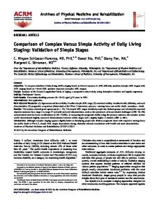 Comparison of Complex Versus Simple Activity of Daily Living Staging ...