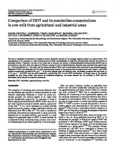 Comparison of DDT and its metabolites concentrations in cow milk ...