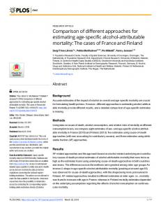 Comparison of different approaches for estimating age-specific ... - PLOS