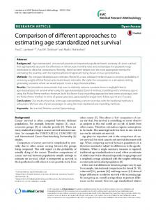 Comparison of different approaches to estimating age standardized ...