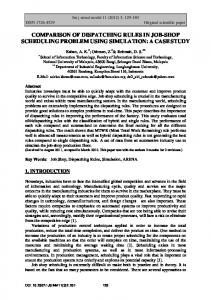 comparison of dispatching rules in job-shop scheduling problem using ...