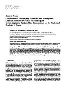 Comparison of Electrospray Ionization and Atmospheric Chemical ...