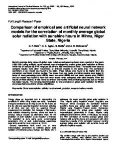 Comparison of empirical and artificial neural network models for the ...