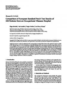 Comparison of European Standard Patch Test Results of 330 Patients ...
