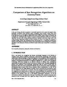 Comparison of face Recognition Algorithms on ... - Aircc Digital Library