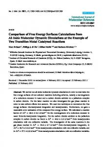 Comparison of Free Energy Surfaces Calculations from Ab ... - MDPI