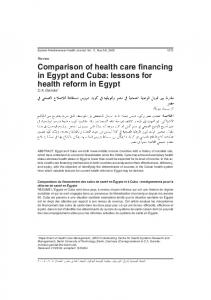 Comparison of health care financing in Egypt and Cuba