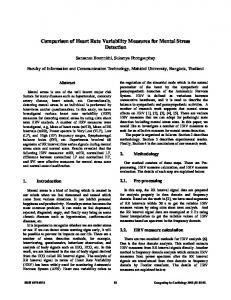 Comparison of Heart Rate Variability Measures for Mental Stress ...