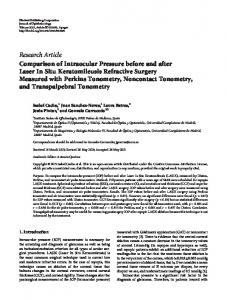 Comparison of Intraocular Pressure before and after Laser In Situ