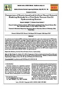 Comparison of Kinetic-based and Artificial Neural Network Modeling ...