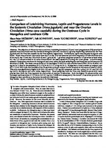 Comparison of Luteinizing Hormone, Leptin and Progesterone Levels ...