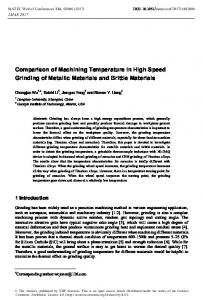 Comparison of Machining Temperature in High Speed Grinding of ...