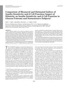 Comparison of Measured and Estimated Indices of Insulin Sensitivity