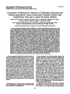 Comparison of Methods for Detection of Chlamydia trachomatis and ...