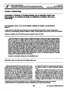 Comparison of Methods of Handling Missing Data in Individual Patient ...