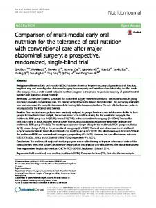 Comparison of multi-modal early oral nutrition for ... - Nutrition Journal