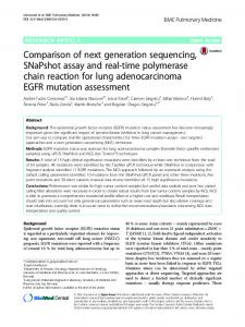 Comparison of next generation sequencing, SNaPshot assay and real ...