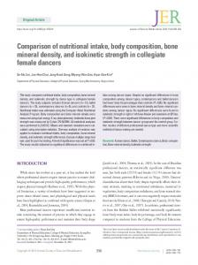 Comparison of nutritional intake, body composition